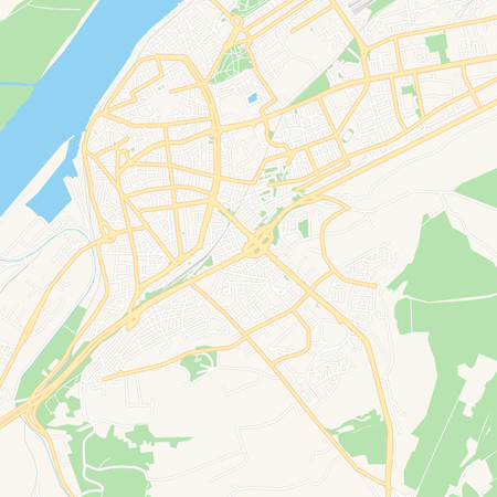 Printable map of Ruse, Bulgaria with main and secondary roads and larger railways. This map is carefully designed for routing and placing individual data.