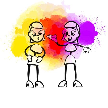 Creative Gossip Girls. Hand-drawn vector illustration, creative backdrops series.