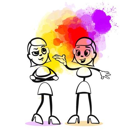Gossip Girls. Hand-drawn vector illustration, creative backdrops series.