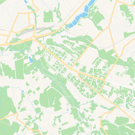 Printable map of Havirov, Czechia with main and secondary roads and larger railways. This map is carefully designed for routing and placing individual data.