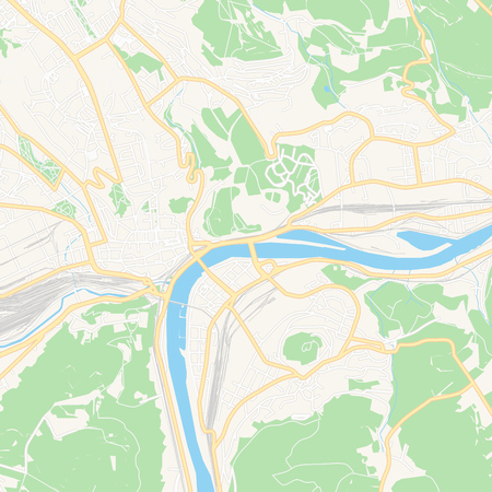 Printable map of  Usti nad Labem, Czechia with main and secondary roads and larger railways. This map is carefully designed for routing and placing individual data.