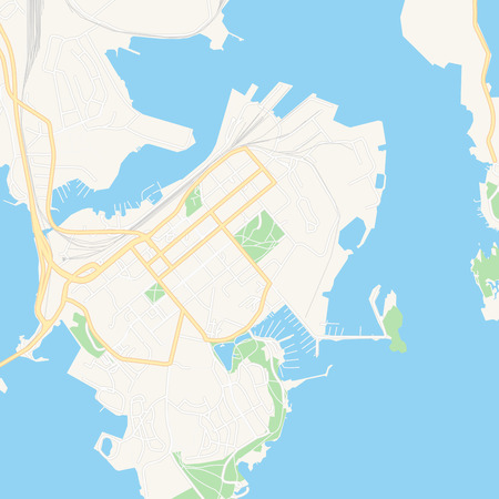 Printable map of Kotka, Finland with main and secondary roads and larger railways. This map is carefully designed for routing and placing individual data.