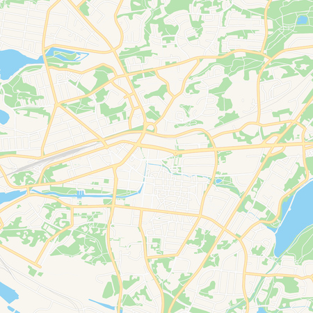Printable map of Rauma, Finland with main and secondary roads and larger railways. This map is carefully designed for routing and placing individual data.