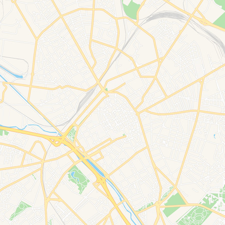 Printable map of Reims, France with main and secondary roads and larger railways. This map is carefully designed for routing and placing individual data. Illustration