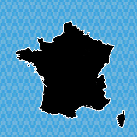 France map as island. Black map separated on blue wave water background.