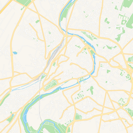 Printable map of Poitiers, France with main and secondary roads and larger railways. This map is carefully designed for routing and placing individual data. 일러스트