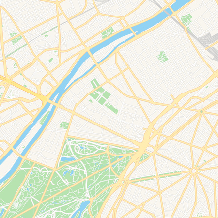 Printable map of Neuilly-sur-Seine, France with main and secondary roads and larger railways. This map is carefully designed for routing and placing individual data. 向量圖像