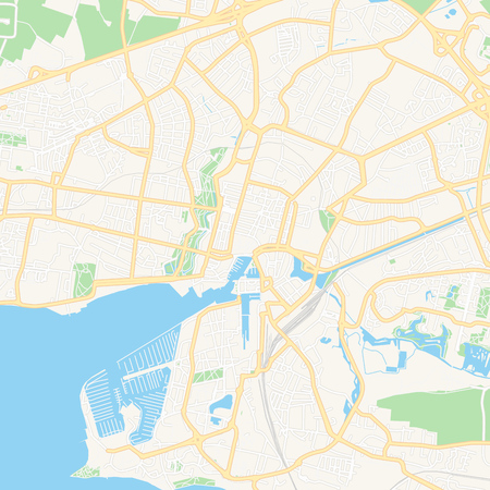 Printable map of La Rochelle, France with main and secondary roads and larger railways. This map is carefully designed for routing and placing individual data.