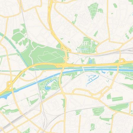 Printable map of Oberhausen, Germany with main and secondary roads and larger railways. This map is carefully designed for routing and placing individual data.