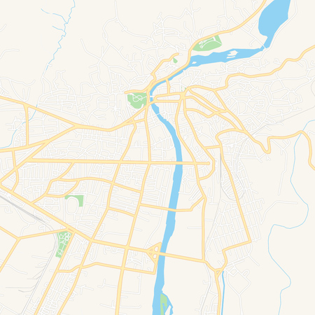 Printable map of Kutaisi, Georgia with main and secondary roads and larger railways. This map is carefully designed for routing and placing individual data. Illusztráció