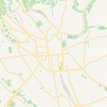 Printable map of Wiesbaden, Germany with main and secondary roads and larger railways. This map is carefully designed for routing and placing individual data.