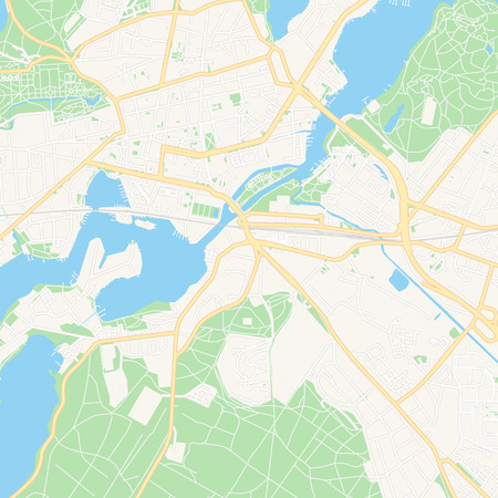 Printable map of Potsdam, Germany with main and secondary roads and larger railways. This map is carefully designed for routing and placing individual data.