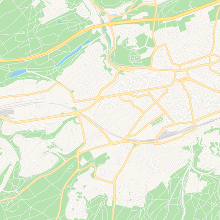 Printable map of Kaiserslautern, Germany with main and secondary roads and larger railways. This map is carefully designed for routing and placing individual data.