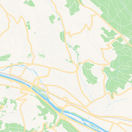 Printable map of Esslingen am Neckar, Germany with main and secondary roads and larger railways. This map is carefully designed for routing and placing individual data.