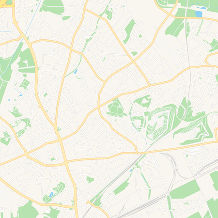 Printable map of Bottrop, Germany with main and secondary roads and larger railways. This map is carefully designed for routing and placing individual data.