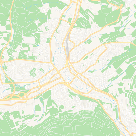 Printable map of Aalen, Germany with main and secondary roads and larger railways. This map is carefully designed for routing and placing individual data.
