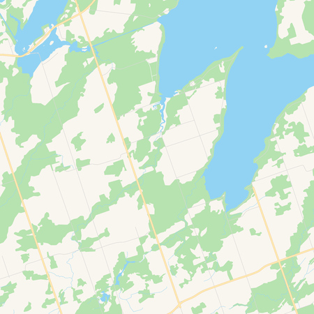 Empty vector map of Kawartha Lakes, Ontario, Canada, printable road map created in classic web colors for infographic backgrounds.