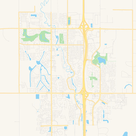 Empty vector map of Airdrie, Alberta, Canada, printable road map created in classic web colors for infographic backgrounds.