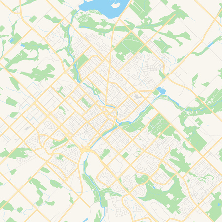 Empty vector map of Guelph, Ontario, Canada, printable road map created in classic web colors for infographic backgrounds.