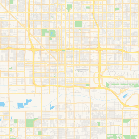 Empty vector map of Phoenix, Arizona, USA, printable road map created in classic web colors for infographic backgrounds.