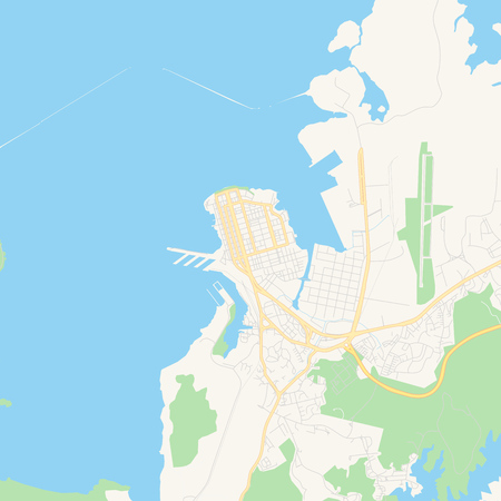 Empty vector map of Colón, Colón, Panama, printable road map created in classic web colors for infographic backgrounds.