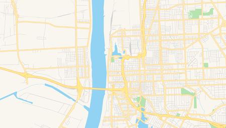 Empty Vector Map Of Baton Rouge, Louisiana, USA, Printable Road ...