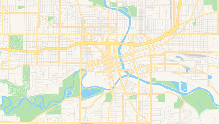 Empty vector map of Des Moines, Iowa, USA, printable road map created in classic web colors for infographic backgrounds.