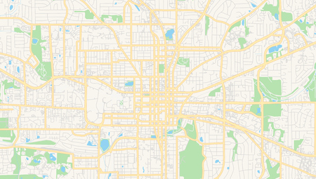 Empty Vector Map Of Tallahassee, Florida, USA, Printable Road ...
