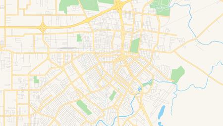 Carte vectorielle vide de Lafayette, Louisiane, États-Unis, carte routière imprimable créée dans des couleurs Web classiques pour les arrière-plans infographiques. Vecteurs