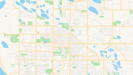 Mapa de vectores vacío de Fort Collins, Colorado, EE. UU., Hoja de ruta imprimible creada en colores web clásicos para fondos infográficos. Ilustración de vector