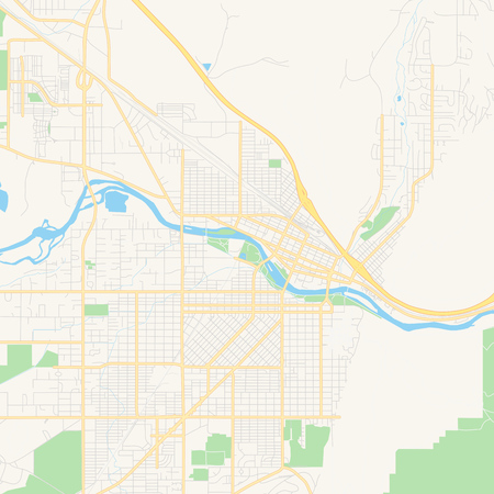 Empty vector map of Missoula, Montana, USA, printable road map created in classic web colors for infographic backgrounds.