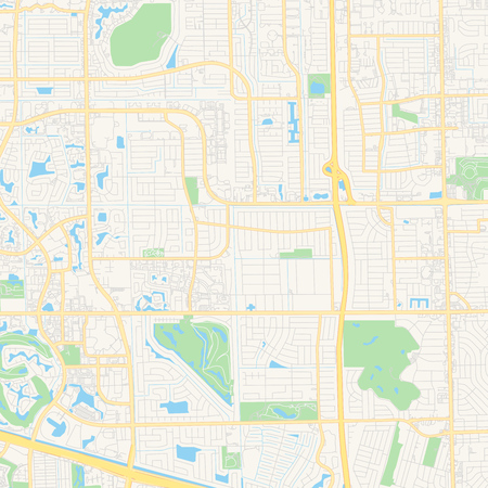 Empty vector map of Plantation, Florida, USA, printable road map created in classic web colors for infographic backgrounds.