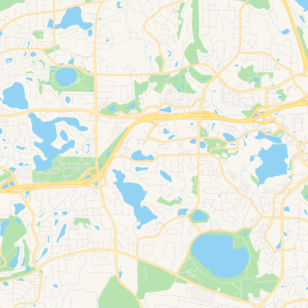 Empty vector map of Eden Prairie, Minnesota, USA, printable road map created in classic web colors for infographic backgrounds. Illustration