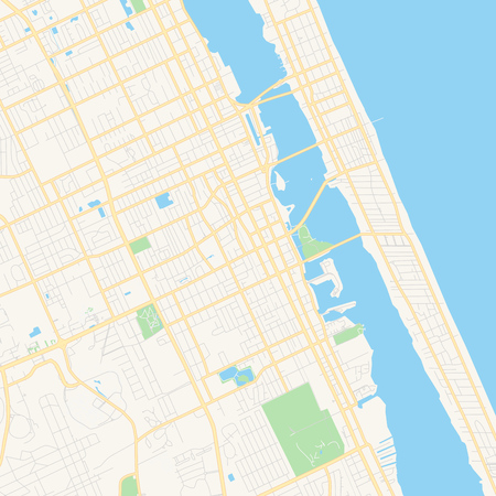 Empty vector map of Daytona Beach, Florida, USA, printable road map created in classic web colors for infographic backgrounds. 矢量图像