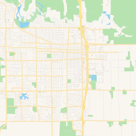 Empty Vector Map Of Lodi, California, USA, Printable Road Map ...