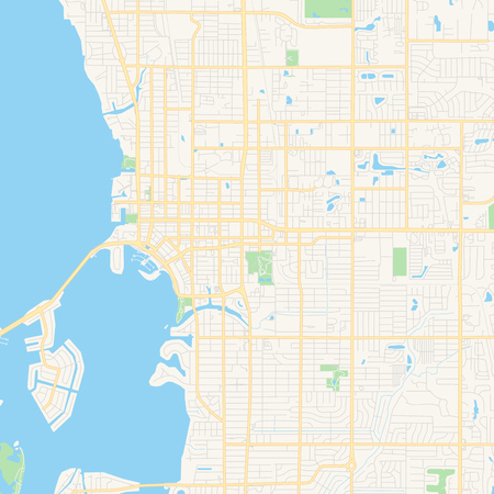 Empty vector map of Sarasota, Florida, USA, printable road map created in classic web colors for infographic backgrounds.