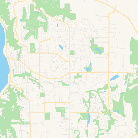 Empty vector map of Sammamish, Washington, USA, printable road map created in classic web colors for infographic backgrounds.