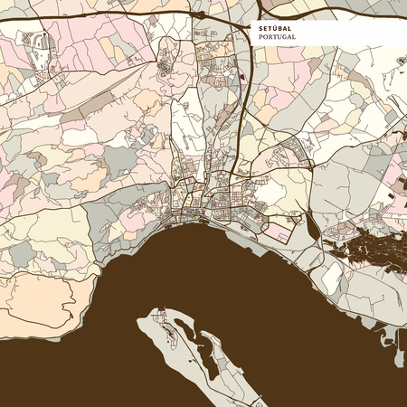 Map of Setubal Portugal art map print template, brown colored version for Apps, Print or web backgrounds