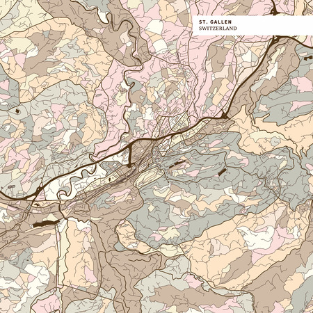 Map of St Gallen, brown colored version for Apps, Print or web backgrounds Stockfoto - 123750232