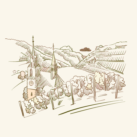 Vineyard Travel drawing, brown colored version for Apps, Print or web backgrounds Stockfoto - 123750233