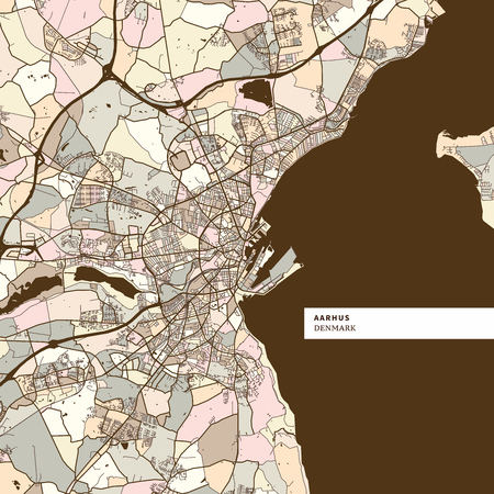 Aarhus Denmark art map print template, brown colored version for Apps, Print or web backgrounds
