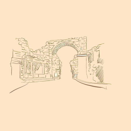 Ancient Gate, drawing, brown colored version for Apps, Print or web backgrounds Foto de archivo - 125505586