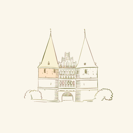 Symbol of Lubeck germany, brown colored version for Apps, Print or web backgrounds