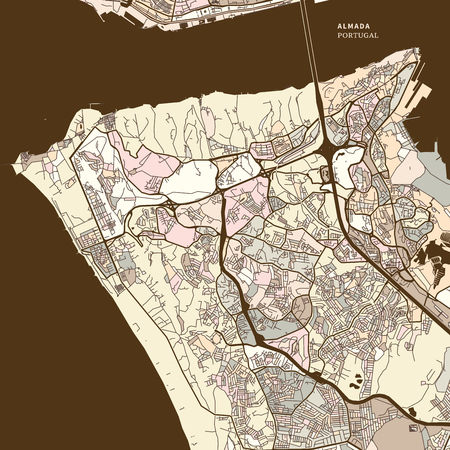 Map of Almada Portugal art map print template. brown colored version for Apps, Print or web backgrounds Stock Illustratie