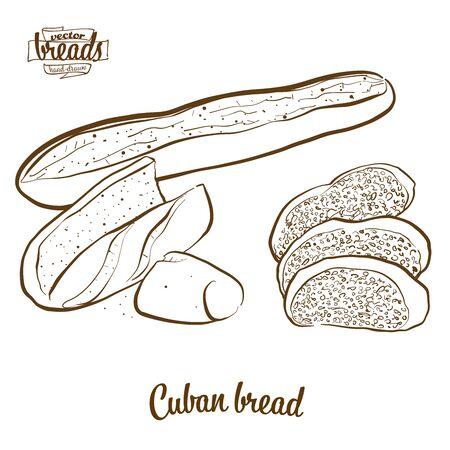 Chleb kubański wektor rysunek. Szkic żywności chleba drożdżowego, zwykle znany w Stanach Zjednoczonych. Seria ilustracji piekarni.