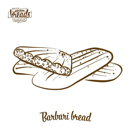 Barbari bread bread vector drawing. Food sketch of Flatbread, usually known in Iran,  Afghanistan. Bakery illustration series.
