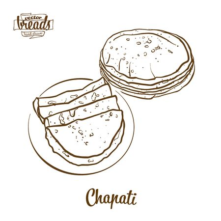 Chapati bread vector drawing. Food sketch of Flatbread, usually known in South Asia. Bakery illustration series. Illustration