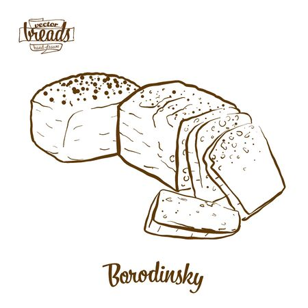 Borodinsky bread vector drawing. Food sketch of Sourdough, usually known in Russia. Bakery illustration series.