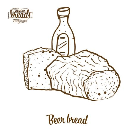 Beer bread bread vector drawing. Food sketch of yeast bread, usually known in Europe, USA. Bakery illustration series. Ilustracja