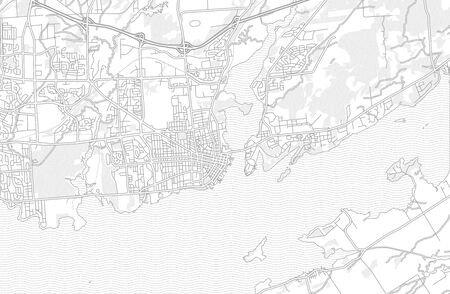 Kingston, Ontario, Canada, bright outlined vector map with bigger and minor roads and steets created for infographic backgrounds. Çizim